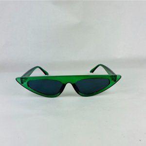 slim cat eye sunglasses with green lens sunglasses